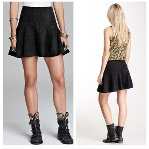 Free People Black Leopard Skater Skirt Size 4